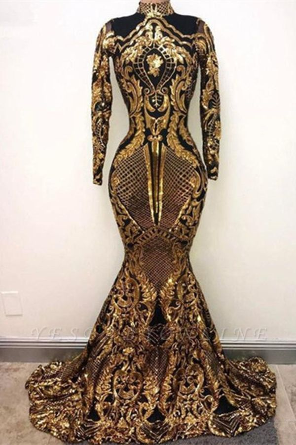 Golden High Neck Long Sleeve Sequined Mermaid Prom Dresses   Fitted And Flare Evening Dresses