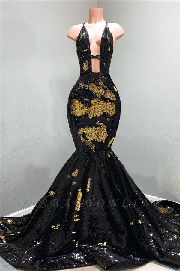 Spaghetti Straps Deep Neckline Sequined Black Mermaid Prom Dresses