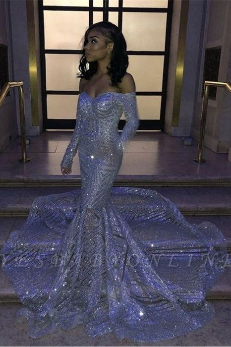 Sparkly Off the Shoulder Long Sleeves Mermaid Silver Prom Dresses