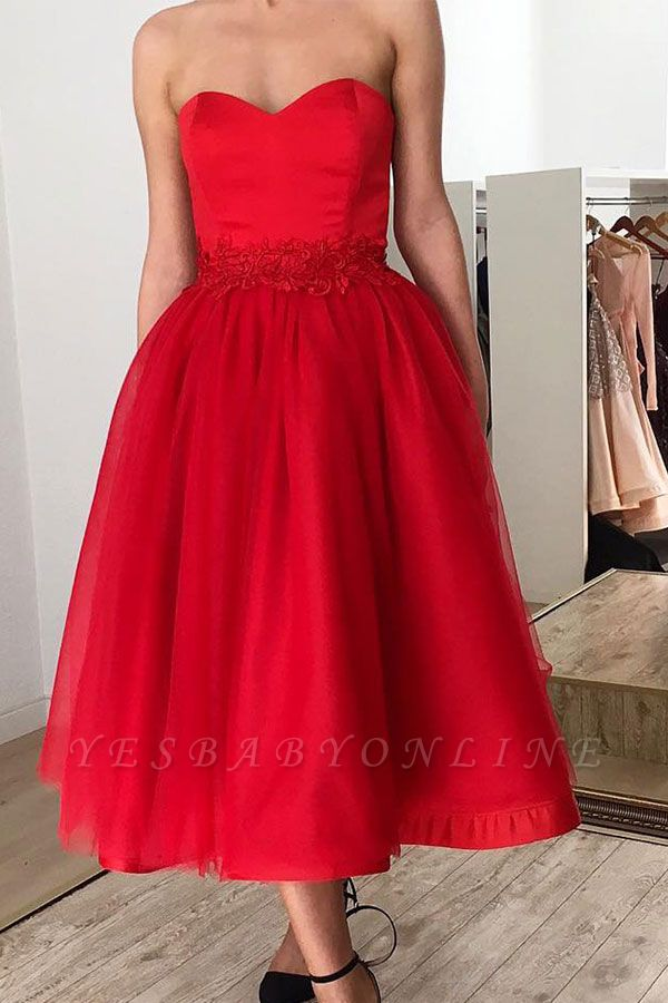Sexy Red Sweetheart Sleeveless Applique A-line Tea-length Prom Dresses