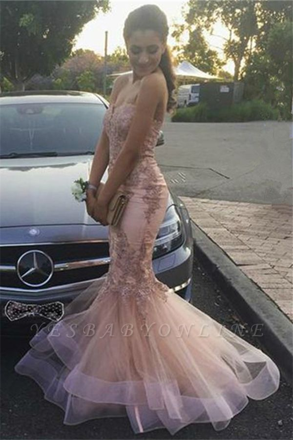 Strapless Sweetheart Appliques Tulle Pink Mermaid Prom Dresses