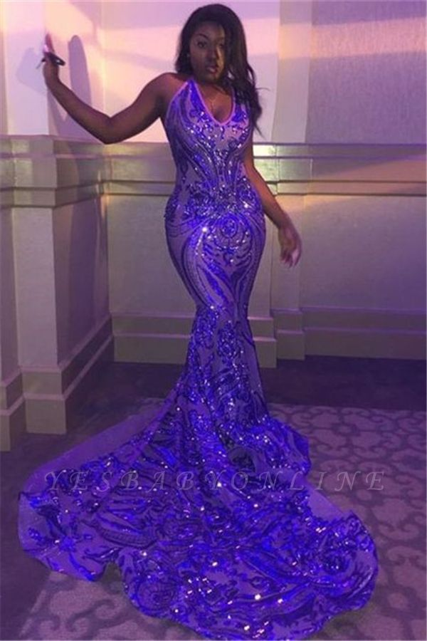 Glitter Spaghetti Straps V-neck Sequined Mermaid Prom Dresses