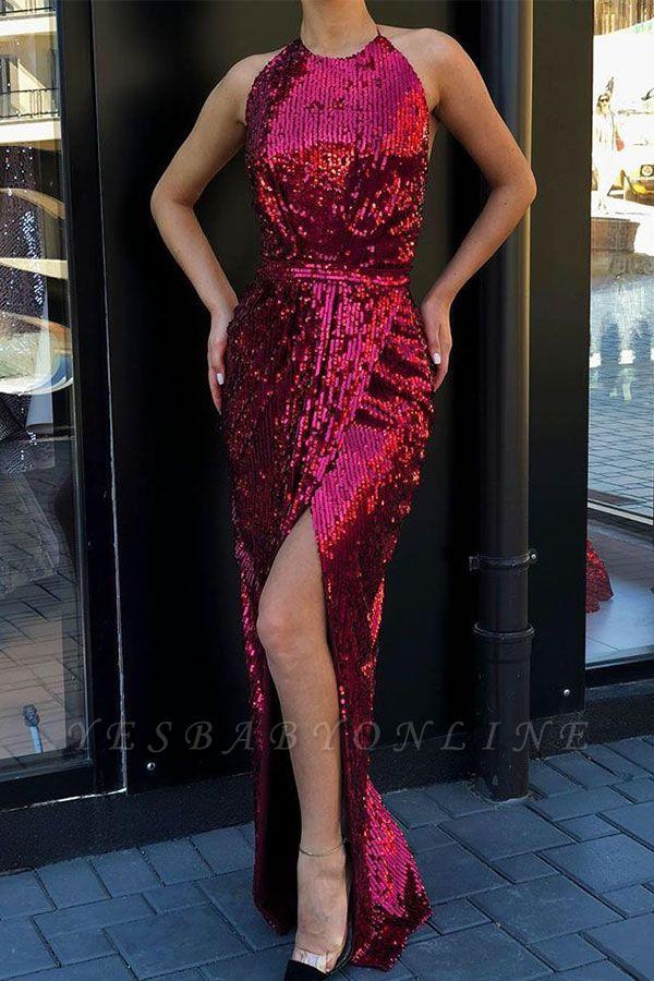 Alluring Halter Sleeveless Sequined Front Slit Floor Length Sheath Prom Dresses