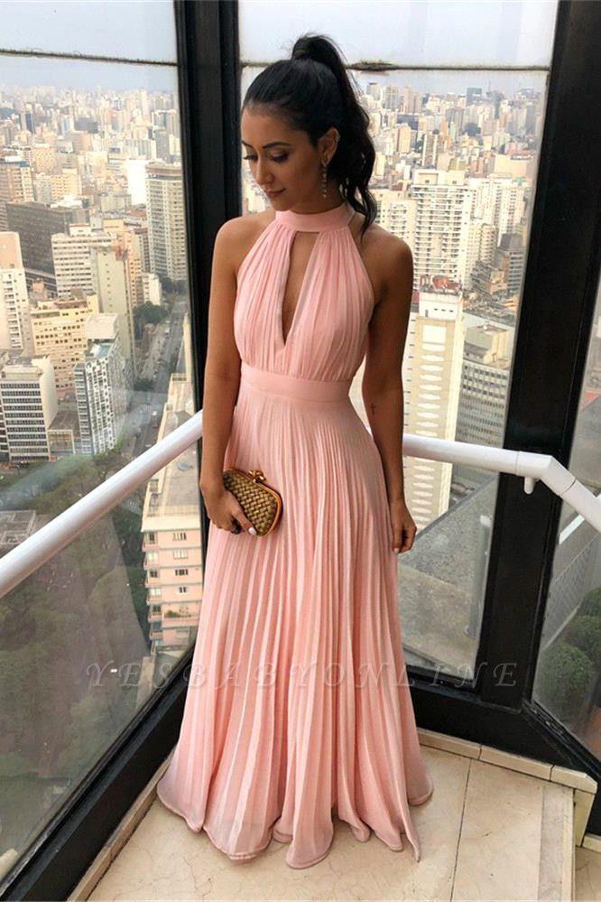 Simple High Neck Keyhole Open Back Chiffon Pink Prom Dresses