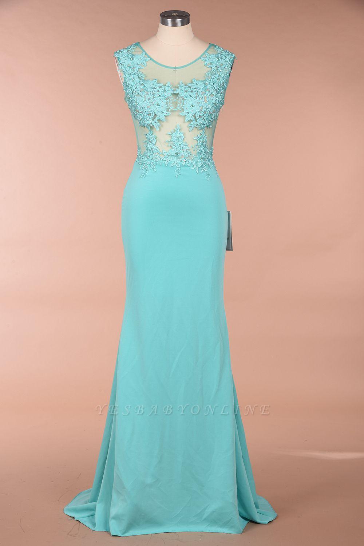 Cheap Sexy mermaid Jewel Chiffon Lace Prom Dress Jewel Tulle Bridesmaid Dress in Stock