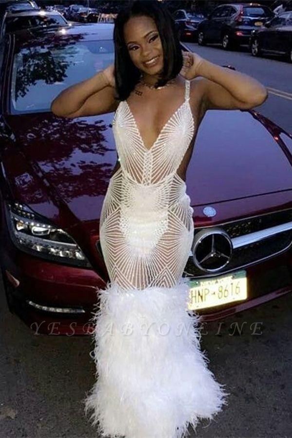 Sapghetti Straps Deep V-neck Sheer Mermaid White Prom Dresses