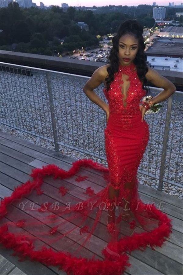 Red Halter Applique Beading Lace Mermaid Prom Dresses | Cheap Party Graduation Dresses