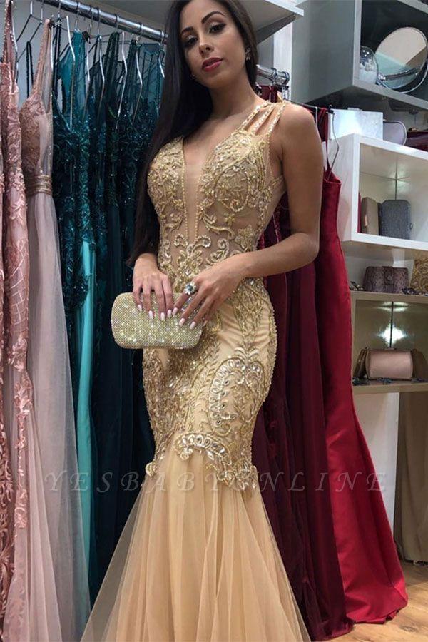 Golden Strap Sleeveless V-neck  Applique Beading Jewel Mermaid Prom Dresses