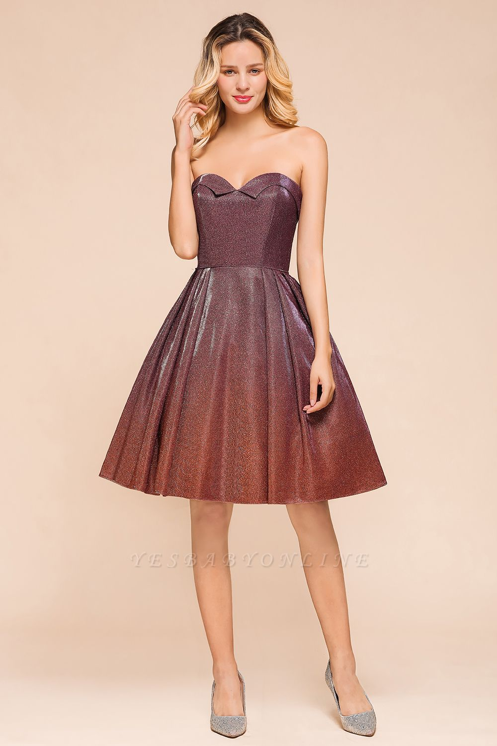 Sweetheart Sleeveless Backless Short A Line Homecoming Dresses | Cheap Cocktail Dresses