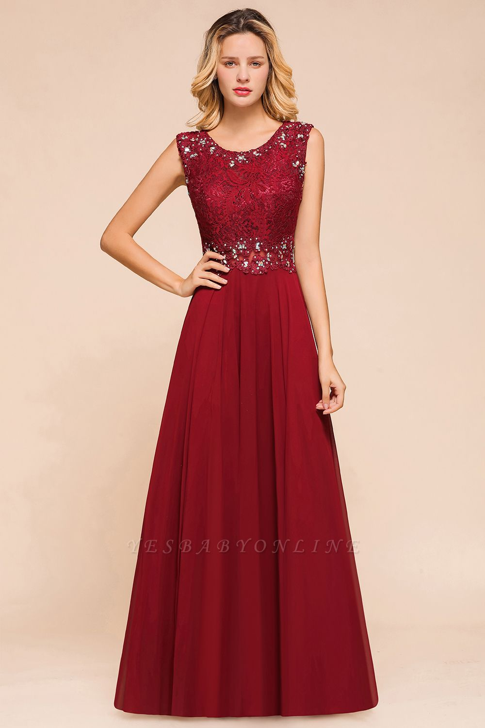 Burgundy Jewel Sleeveless Applique Lace Floor Length Prom Dresses | Beading Cheap Party Dresses