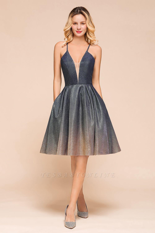 Sexy Spaghetti Strap V-neck Ruffles Short Knee Length Homecoming Dresses | Criss Cross Graduation Dresses