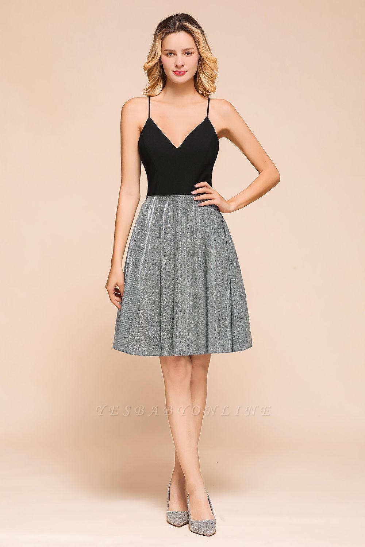Sexy Black Spaghetti Strap Deep V Neck Criss Cross A Line Short Homecoming Dresses