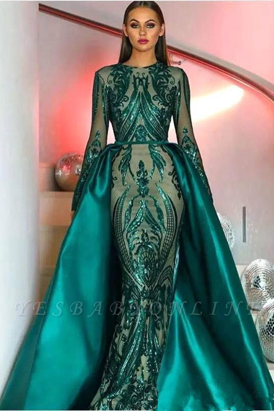 Jewel Long Sleeves Appliques Fitted Prom Dresses with Detachable Train
