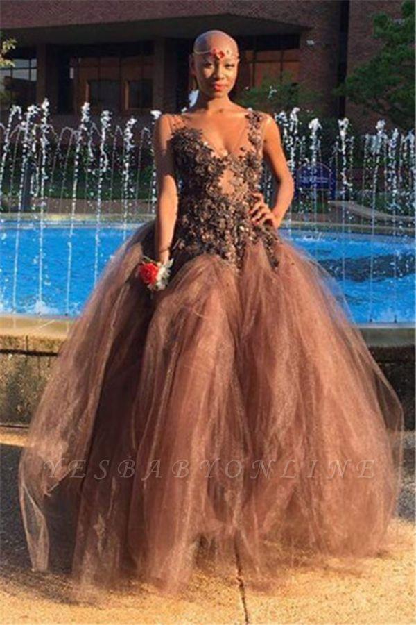 Straps V Neck Applique Flower A-Line Prom Dresses | Sexy Cheap Evening Dresses