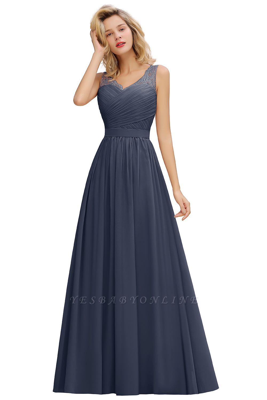 Cheap A-line Chiffon Lace V-Neck Ruffles Bridesmaid Dress in Stock
