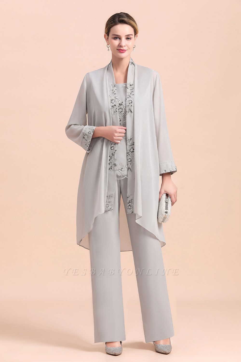 Grey Chiffon Mother of Bride Pant Suits with Half Sleeves Long Jacket