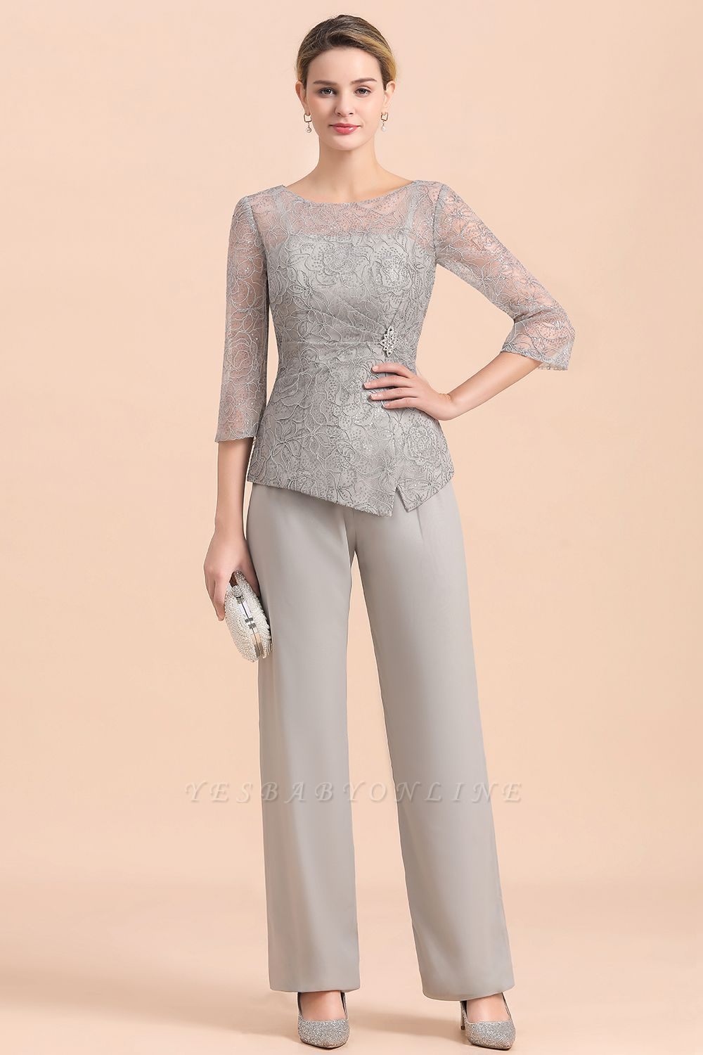 Elegant Smokey Blue Round Neck Half Sleeves Lace Mother of Bride Pants Suits