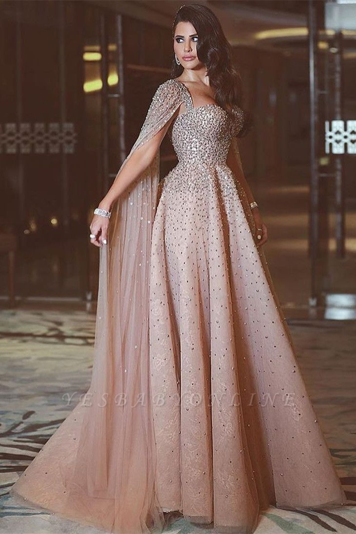 Luxury Straps Sweetheart Jewel A Line Floor Length Cheap Prom Dresses With Cape | Beaded Party Dresses