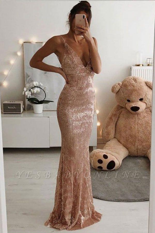 Sexy Spaghetti Strap V Neck Sleeveless Sequined Floor Length Sheath Prom Dresses