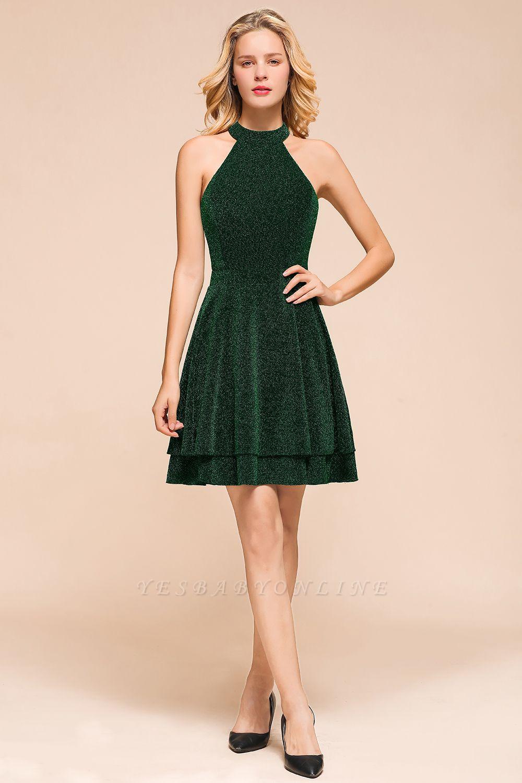 Green Halter Sleeveless Sequined Backless Sheath Homecoming Dresses | Short Cocktail Dresses