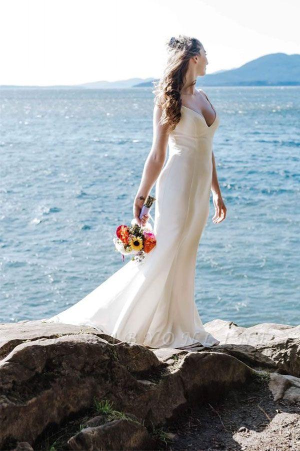 Straps V Neck Sleeveless Mermaid Ruffles Wedding Dresses | Floor Length Bridal Gown