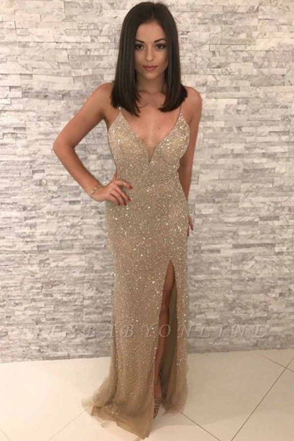 Golden Sparkle Spaghetti Strap V Neck Sleeveless Sequined Front Slit Sheath Prom Dresses | Floor Length Formal Evening Dresses