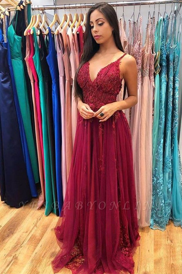 Burgundy Spaghetti Strap V-neck Applique Pearls A-line Prom Dresses | Sexy Ruffles Evening Dresses