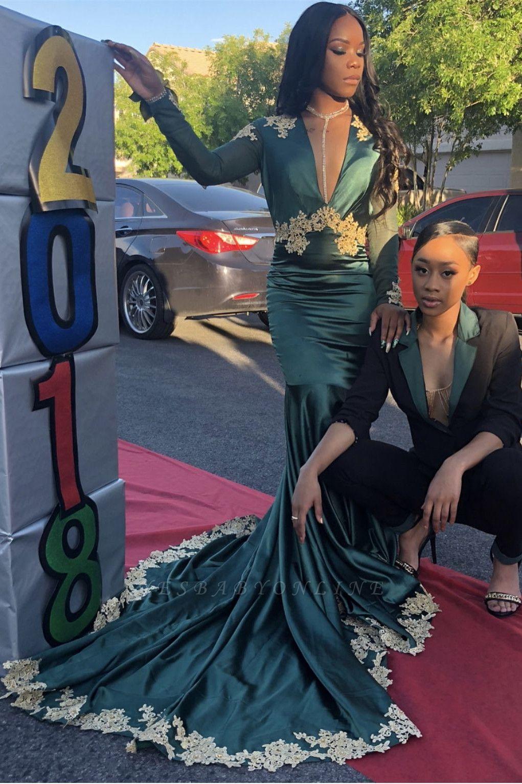 Dark Green Long Sleeve V Neck Backless Applique Mermaid Pom Dresses