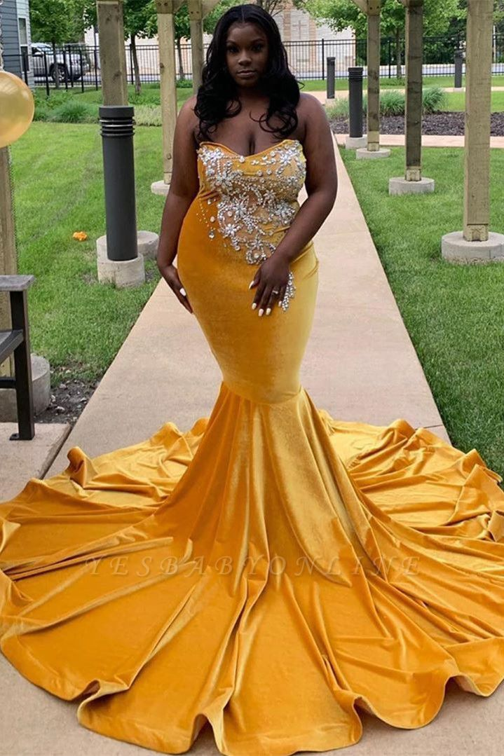 Strapless Yellow Velvet Appliques Mermaid Prom Dresses