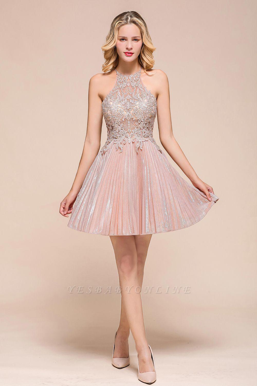 Pink Halter Lace Applique Lace A Line Short Homecoming Dresses | Backless Cocktail Dresses