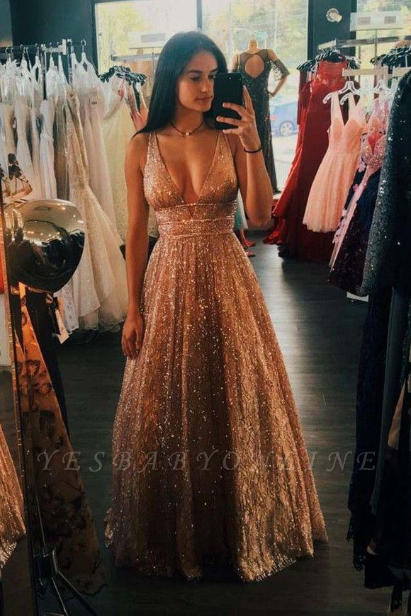 Brilliant Strap V Neck Sleeveless Sequin Beading A Line Floor Length Prom Dresses