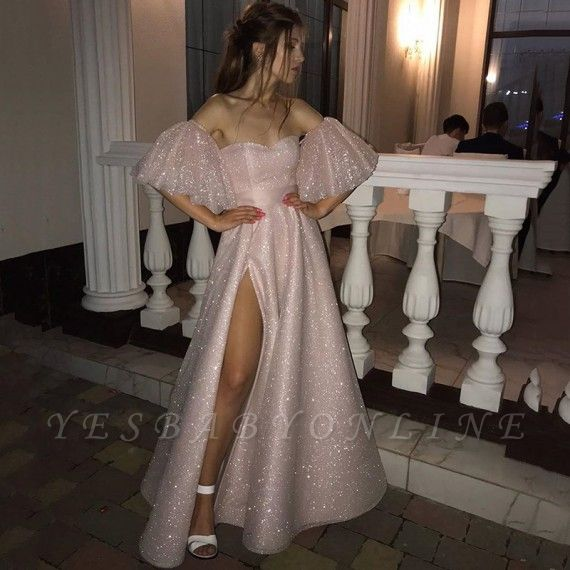 Pink Off-the-shoulder Sequined Front Slit A-line Floor Length Prom Dresses | Backless Evening Gown