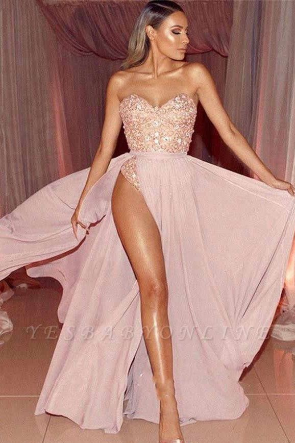 Pink Sweetheart Strapless Applique Beaded Front Slit Floor Length A Line Prom Dresses | Sexy Cheap Evening Dresses