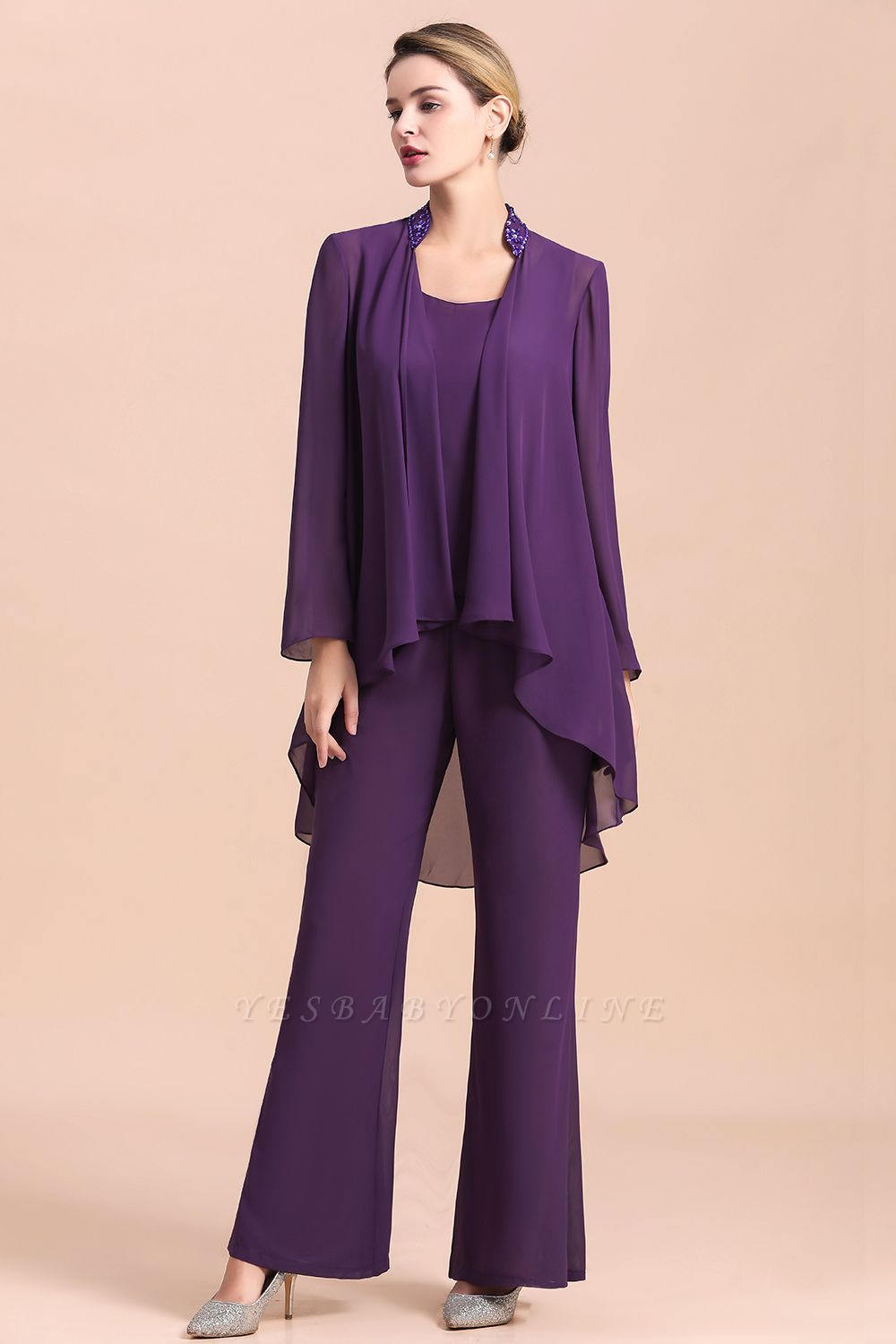 Grape Chiffon Mother of Bride Jumpsuit with Long-Sleeve Jacket