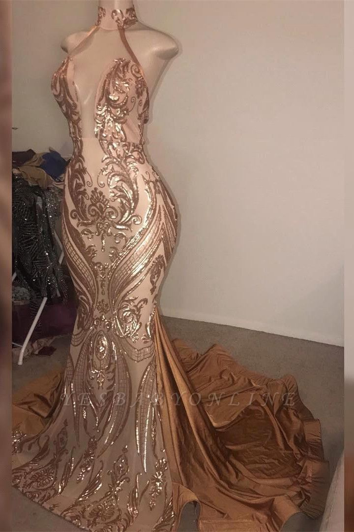 High Neck Sleeveless Sheer Metallic Fit and Flare Prom Dreses