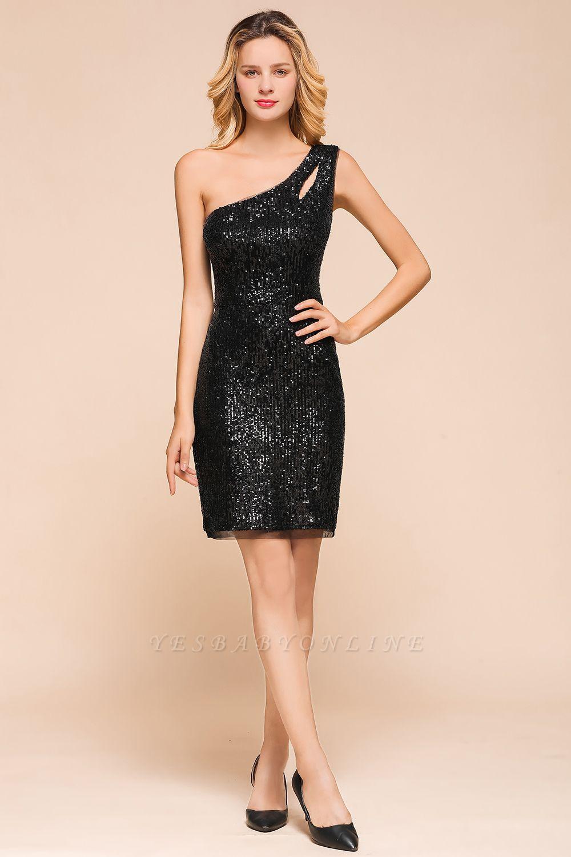Black One Shoulder Sequined Sheath Homecoming Dresses | Short Cocktail Dresses