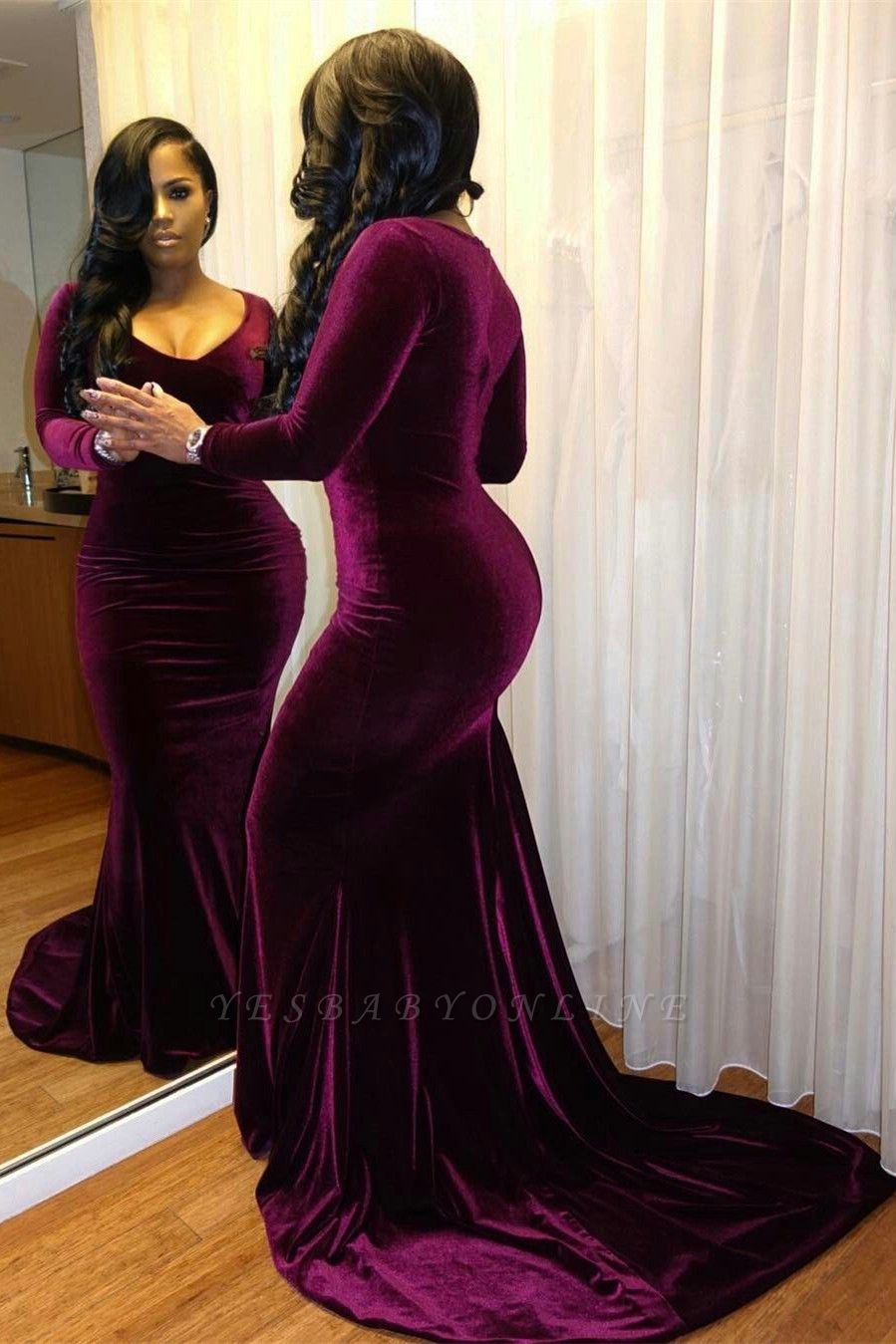 Sexy Long Sleeve V Neck Full-back Mermaid Ruffles Prom Dresses | Charming Evening Dresses