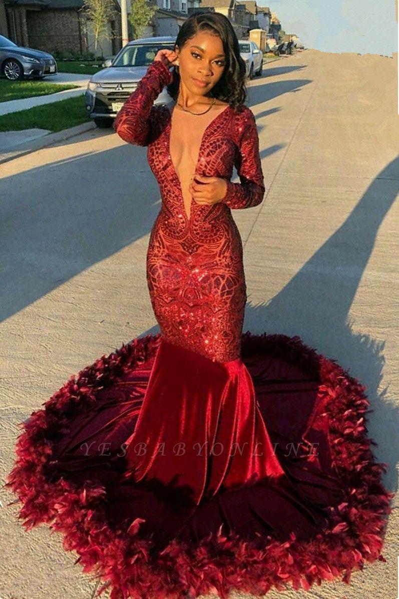 Jewel Sheer Long Sleeves Sequin Mermiad Prom Dresses with Fur