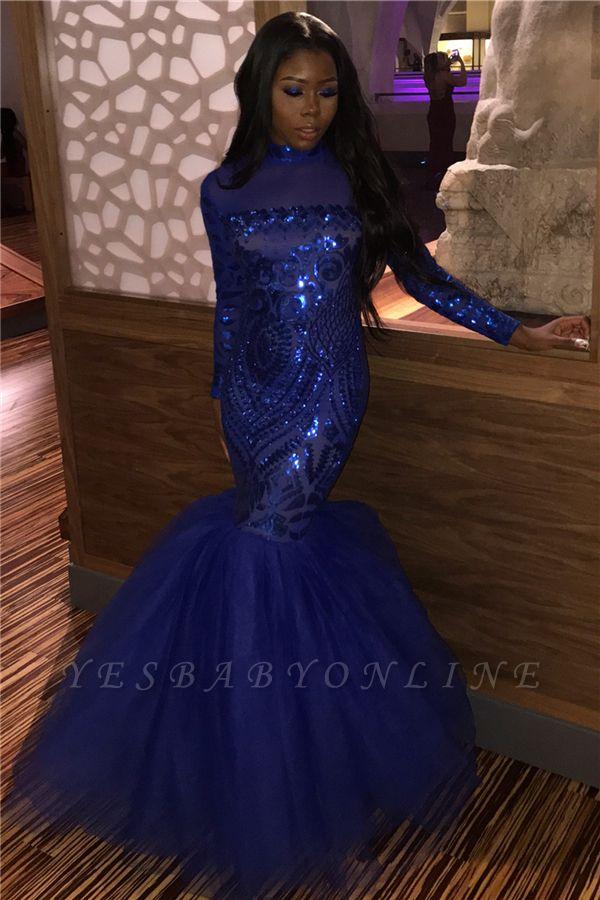 Shiny Royal Blue High Neck Long Sleeve Applique Sequined Mermaid Floor Length Prom Dresses