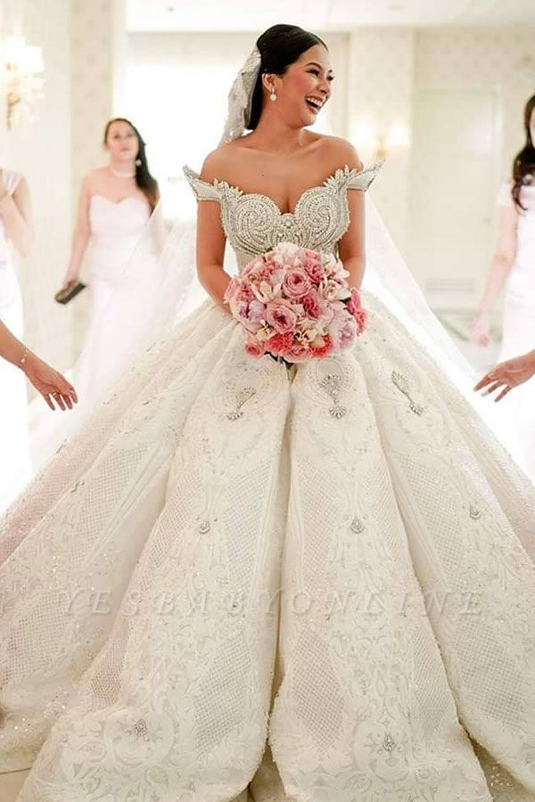 Luxury Off-the-shoulder Applique Beading Jewel Ball Gown Wedding Dresses | Lace Ruffles Bridal Gown