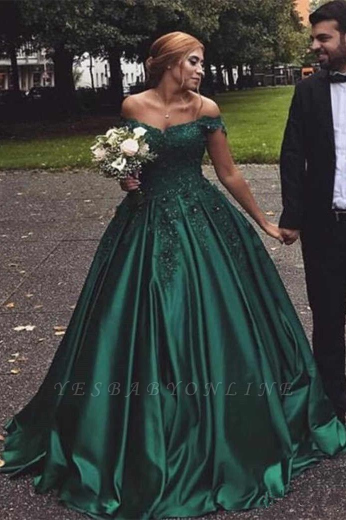 Dark Green Off The Shoulder Sweetheart Appliques Beading Ball Gown Prom Dresses | Ruffles Formal Party Evening Dresses