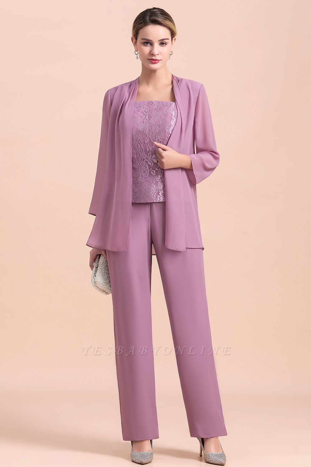 Lilac Chiffon Cheap Mother of Bride Pant Suits with Half Sleeves Jacket