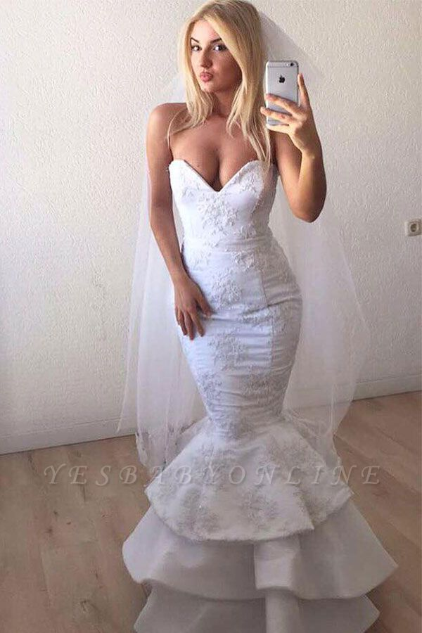 Sweetheart Backless Applique Lace Mermaid Wedding Dresses | Sexy Tiered Bridal Gown