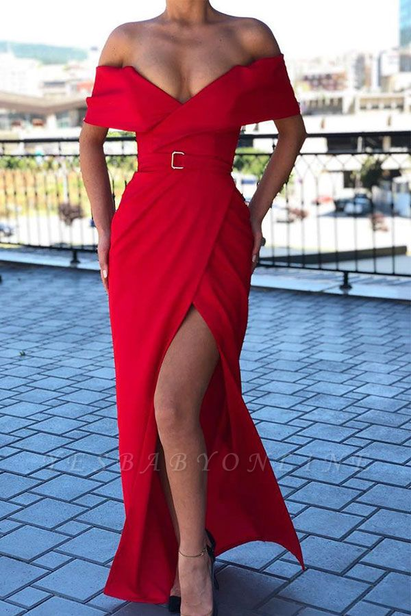 Sexy Red Off-the-shoulder Front Slit Sheath Floor Length Prom Dress | Cheap Evening Gown