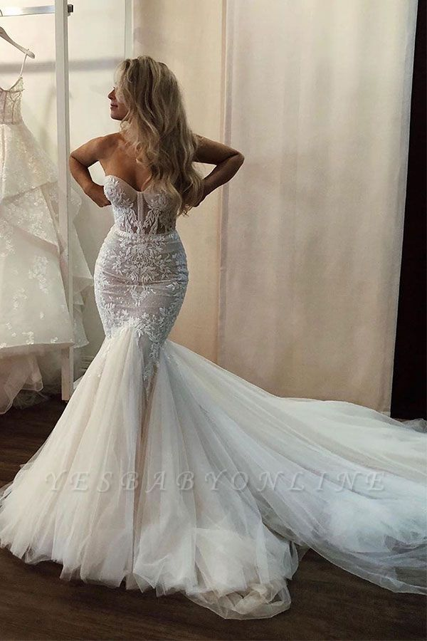 Sweetheart Strapless Applique Mermaid Wedding Dresses   Sexy Ruffles Bridal Gown