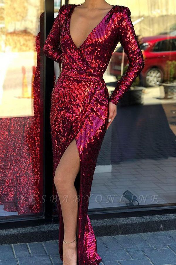 Deep V Neck Long Sleeve Sequined Front Slit Floor Length Sheath Prom Dresses | Cheap Evening Gown