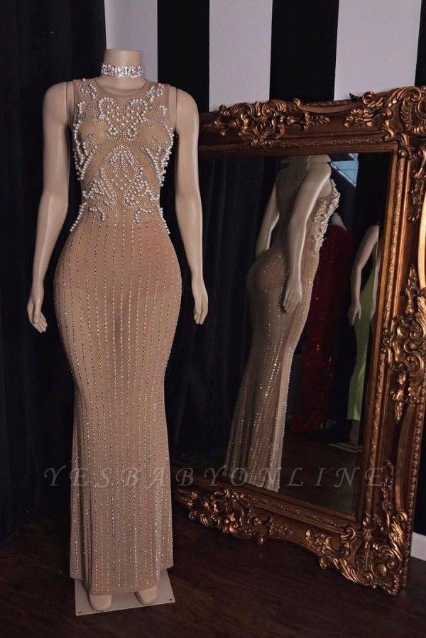Elegant Jewel Sleeveless Floor Length Beaded See-Through Prom Dresses