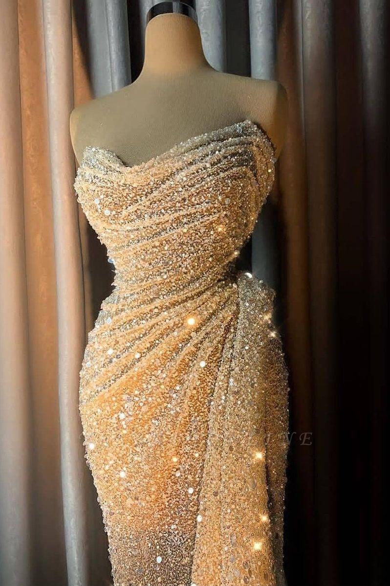 Glitter Off the Shoulder Sequined Fitted Prom Dresses