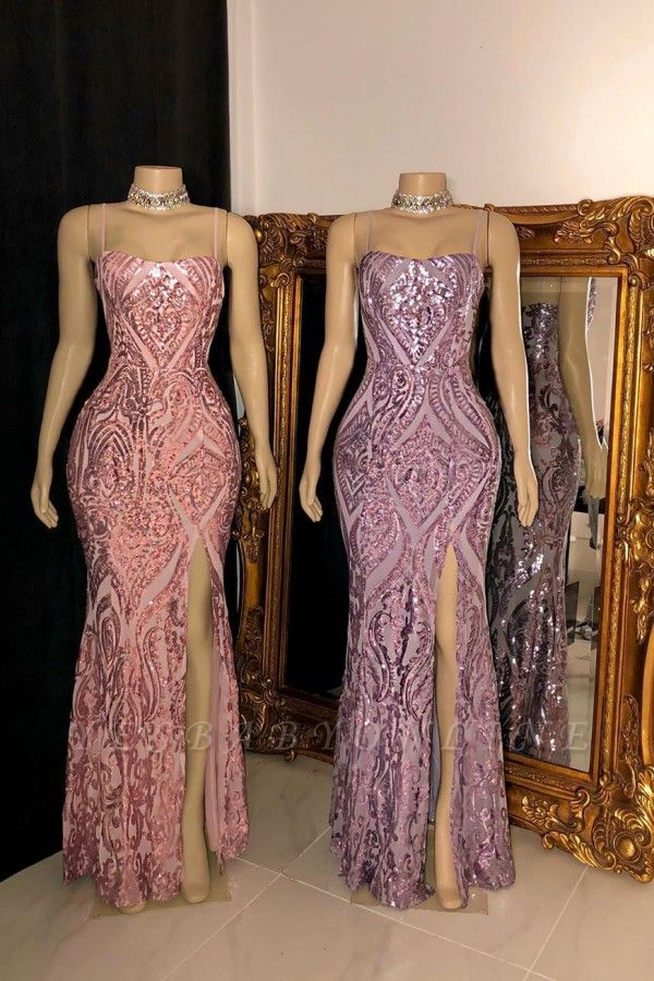 Sparkly Spaghetti Straps Fitted Sequin Prom Dresses with Front Split