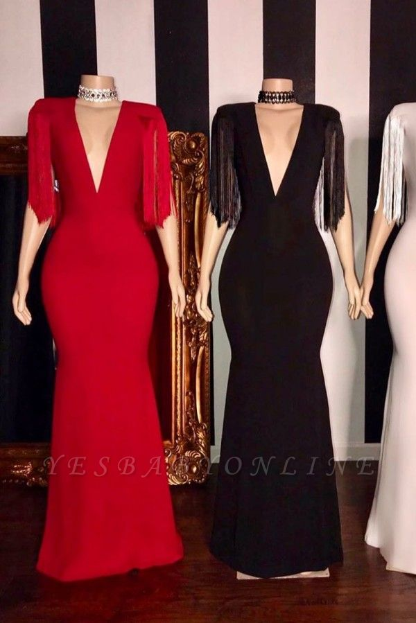 Elegant Deep V-neck Long Sheath Prom Dresses with Fringes on Sleeves